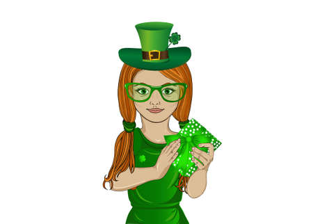 Little girl in national costume for St. Patricks Day. In her hands holds a green box with a bow. A gift for a holiday. Illustration