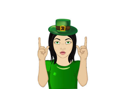 clover face: Enthusiastic girl in hat for St. Patricks Day holiday. Hands show thumbs up. New idea. Vector. Empty space for advertising. Illustration