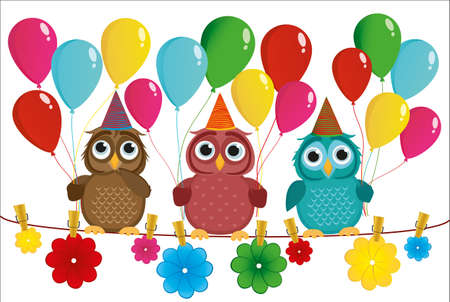 Three lovely owls sit on a rope and hold balloons. Hanging on clothespins are colored paper flowers. Illustration