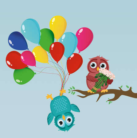 Greeting card or invitation for a birthday and a holiday. The owl hangs upside down on the balloons. And an owlet on a branch with a bouquet of flowers roses. Vector. Empty space for text and advertising Illustration