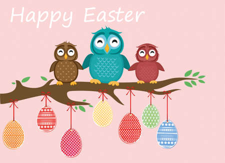 tree: Easter eggs hang on ribbons. Lovely owls are sitting on a tree branch. Greeting card or invitation for a holiday. Vector