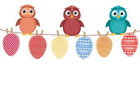 Multicolored Easter eggs made of paper hanging on a rope. Cute owls sitting. Vector. Greeting card or invitation for a holiday with a blank space for a label or advertisement.