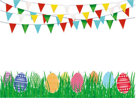 Multicolored decorated Easter eggs on the green grass and a garland of flags. Bunting. Greeting card or invitation for a holiday. Vector. Empty space for text Illustration