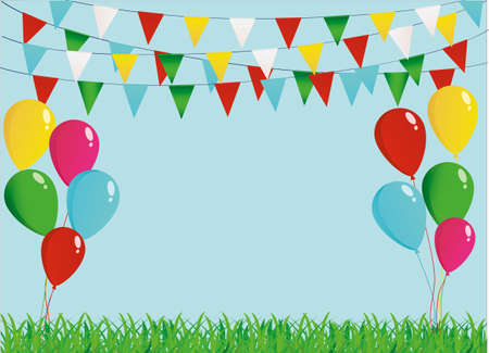A protective card or invitation for a holiday. Green grass and garland of colorful flags and balloons. Vector. Free space for text Illustration
