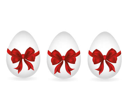 Easter egg tied with ribbon and bow. Empty place for text or advertising. Vector. Greeting card or invitation for a holiday