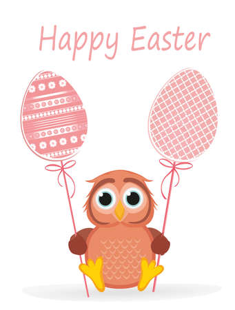 Owl keep Easter decorated egg on a stick. Multicolored. Vector. Greeting card for the holiday. Empty space for text. Grass Illustration