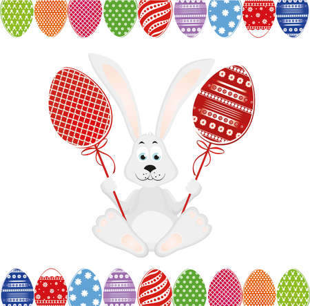 space for text: Cute rabbit with of Easter eggs on stick. Happy hare. An invitation to a holiday. Vector. Free space for text Illustration