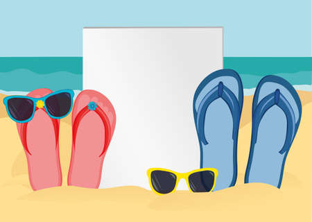 Flip-flops and sunglasses on the sandy shore of the ocean.