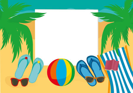 Flip-flops and sunglasses and chaise longue with a ball on the sandy beach of the ocean with palm trees. Vector. An invitation to travel. Empty place for text or advertising.