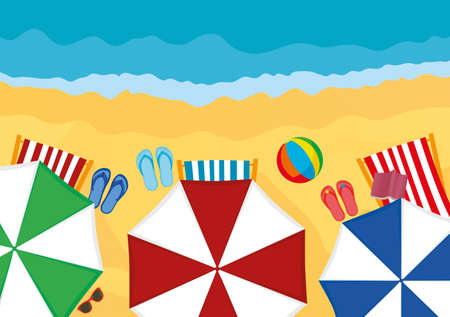 Concept of rest and travel. Umbrellas with sun loungers and slaps on the beach. Vector Illustration