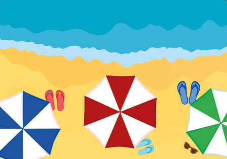 footwear: Concept of rest and travel. Umbrellas with slaps on the beach. Vector Illustration