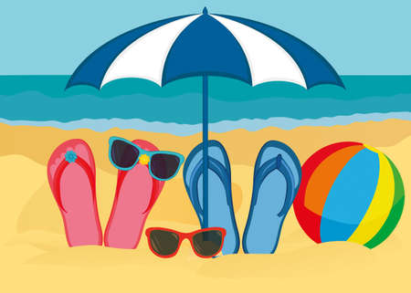 Flip-flops and sunglasses with a beach umbrella on the sandy beach of the ocean. Vector. An invitation to travel. Empty empty space. Just a place for text or advertising. Rainbow Inflatable Ball