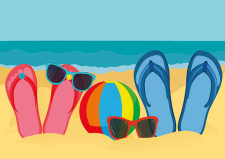 Flip-flops and sunglasses on the sandy shore of the ocean. Vector. Invitation to travel. Empty blank and space. Just a place for text or advertising. Rainbow Inflatable Ball Illustration