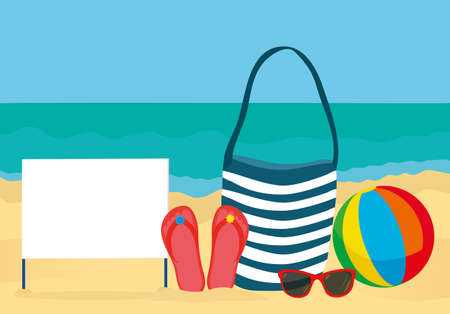Summer accessories for the beach. Bag, sunglasses, flip flops, ball. Blank form or card for text or advertising. Against the background of the sea. Vector Illustration