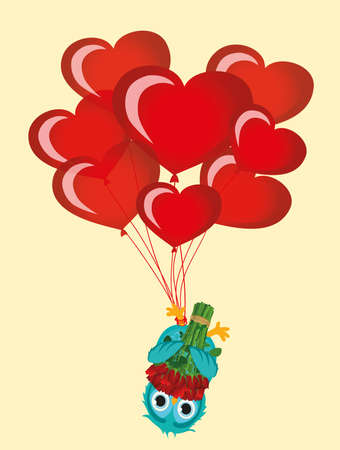 Greeting card or invitation for a birthday and a holiday. The owl with Bouquet of red flowers hanging upside down on Balloons in the shape of heart. Vector. Empty space for text and advertising