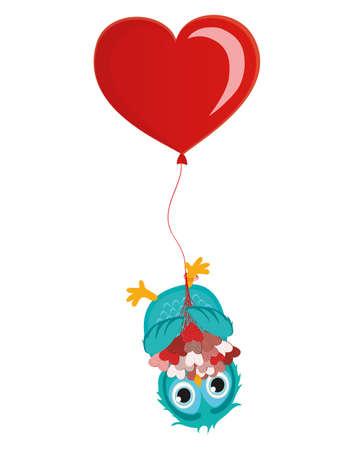 Wenskaart of uitnodiging voor een verjaardag en een vakantie. De uil met boeket van harten opknoping ondersteboven op ballonnen. Vector. Lege ruimte voor tekst en reclame Stock Illustratie