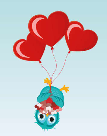 upside: Greeting card or invitation for a birthday and a holiday. The owl with Bouquet of hearts hanging upside down on balloons. Vector. Empty space for text and advertising Illustration