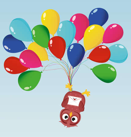Greeting card or invitation for a birthday and a holiday. The owl hanging upside down on balloons. Vector. Empty space for text and advertising Illustration