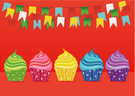 chocolate swirl: Multicolored cupcakes. Greeting card for the day. Vector. Free space for text or advertising. Garland of paper flags