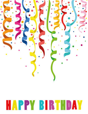 streamers: Colorful multicolored confetti. Holiday birthday. Vector. Greeting card or invitation. Illustration