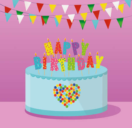 cupcake illustration: Festive colorful rainbow and a big cake with candles. Happy Birthday. Greeting card or invitation for a holiday. Vector