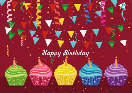 cupcake illustration: Multicolored cupcakes with candle. Happy Birthday. Garland with flags and confetti. Greeting card or invitation. Vector. Free space for text or advertising.