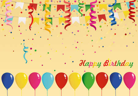 Colorful multicolored confetti and garland of flags and balloons. Holiday birthday. Vector. Greeting card or invitation. Illusztráció
