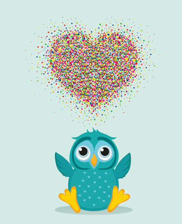A happy owl throws a multicolored confetti in the shape of a heart with wings. Greeting card for Valentines Day. A blank space for your text or advertising. Vector. Love