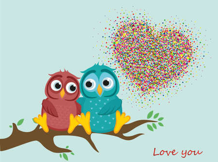 A pair of lovely owls in love, sit on a branch. Colorful confetti in the shape of heart. Greeting card for Valentines Day and invitation to the wedding. The Vector