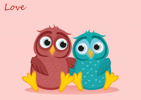 A pair of cute owls in love. Vector. Greeting card or invitation for St. Valentines Day or a holiday