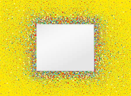 An empty invitation to a holiday in a heap of colorful confetti. Vector. Place for text or advertising. Greeting card for birthday