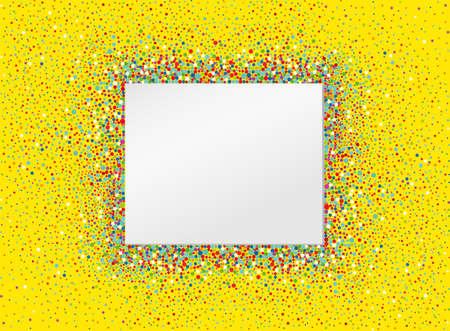 Una invitación vacía a un día de fiesta en un montón de confeti colorido. Vector. Lugar para el texto o la publicidad. Tarjeta de felicitación para cumpleaños Foto de archivo - 79102587