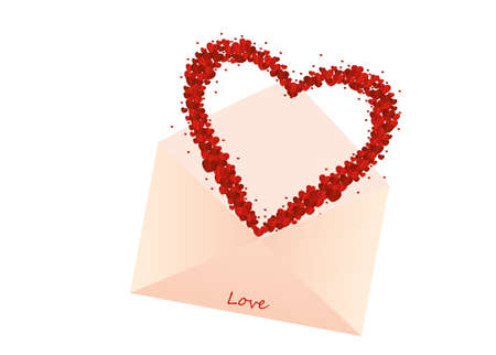 A multicolored confetti in the shape of a heart flies out of the envelope. A greeting card or an invitation to a holiday. St. Valentines Day. Vector Illustration
