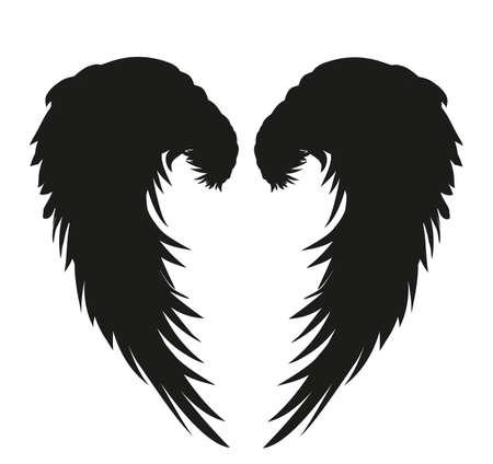 Flügel Vektor-Illustration auf weißem Hintergrund Schwarz-Weiß-Stil Standard-Bild - 80934007