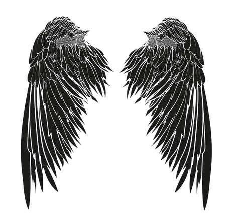 Flügel Vektor-Illustration auf weißem Hintergrund Schwarz-Weiß-Stil