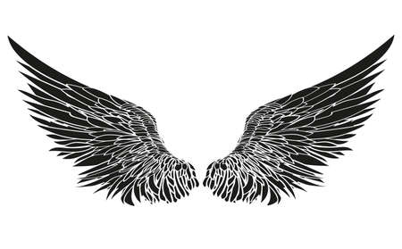 Wings Vector illustration on white background Black and white style Vettoriali