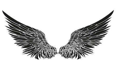 Wings illustrazione vettoriale su sfondo bianco Stile in bianco e nero Vettoriali