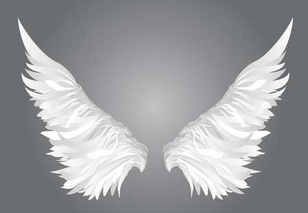 Wings. Vector illustratie op een witte achtergrond. Zwart-witte stijl.