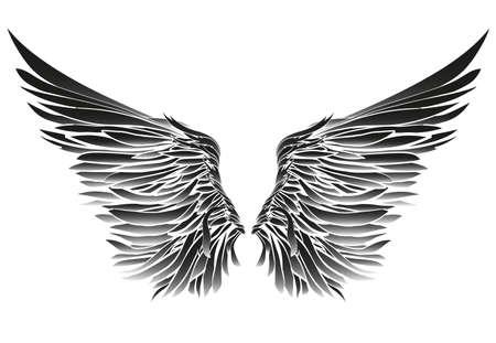 Flügel Vektor-Illustration auf schwarzem Hintergrund. Schwarz-Weiß-Stil. Standard-Bild - 81126232