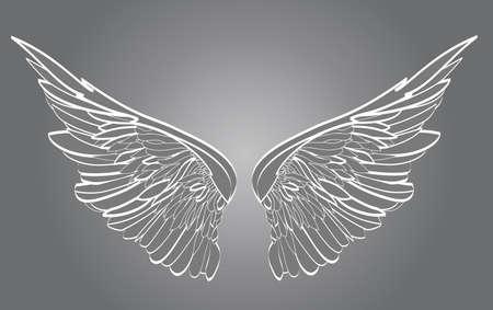 Flügel Vektor-Illustration auf weißem Hintergrund. Schwarz-Weiß-Stil.