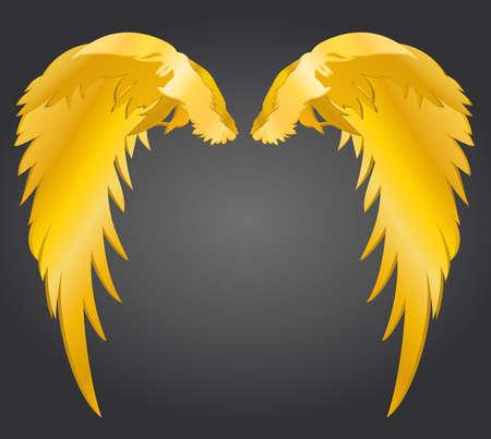 Flügel. Vektorillustration auf grauem Hintergrund. Goldenes Metall