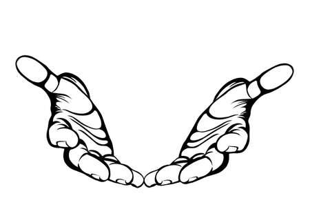 Geste les mains ouvertes. Two Hand donne ou reçoit. Style graphique Contour. Noir et blanc. Illustration vectorielle sur fond blanc. Espace vide pour la publicité