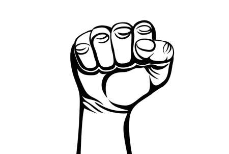 uprising: Fist, contour linocut isolated on white background. Vector illustration Illustration