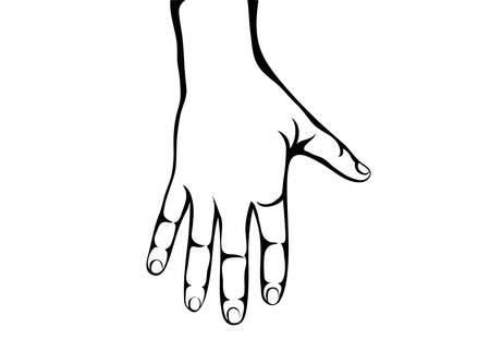 Back of the left hand. Contour. Lino cut vector. Palm down Illusztráció