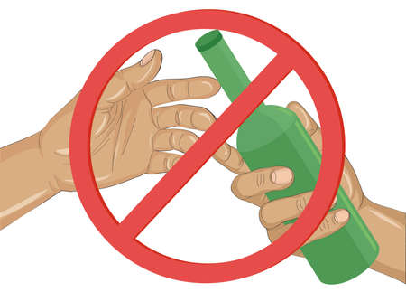 Stop the alcohol concept illustration. A man offers a drink, holding a bottle in his hand.Vector, Prohibiting red sign. Illustration