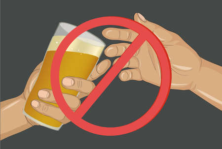 Stop the alcohol. A man offers a drink, holding a glass with beer in his hand.  Vector.Prohibiting red sign.