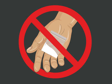 Concept of Drugs Not Allowed. Decline the crack. The hand gives drugs. Vector. Prohibition sign.