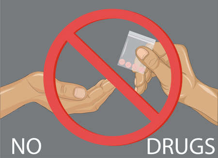 Concept of No to drugs. Decline the tablets. The hand gives drugs. Vector. Prohibition sign.