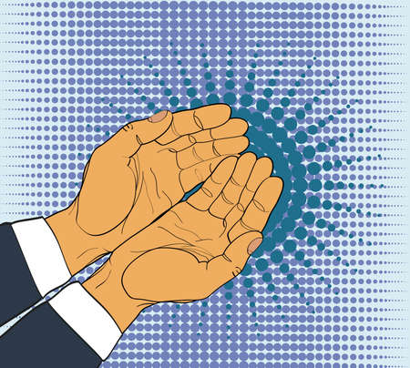 alms: Gesture open palms. Two Hands gives or receives. Retro style pop art. Vector illustration. Empty space for advertising
