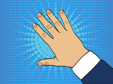 Back of the left hand. Vector. The palm down. Popart style